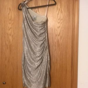 Shimmery special occasion dress.